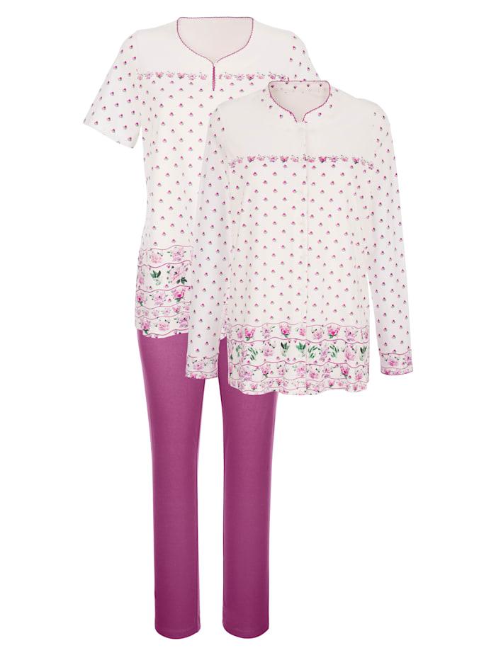 Harmony Schlafanzug 3tlg. mit floralem Bordürendruck, Ecru/Fuchsia