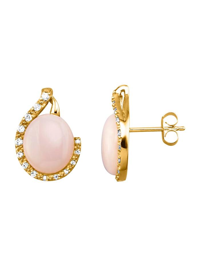 Boucles d'oreilles avec opale et zirconia synthétique, Rose