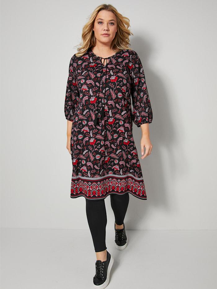 Janet & Joyce Jersey jurk met flatterende A-shape, Zwart/Rood/Multicolor
