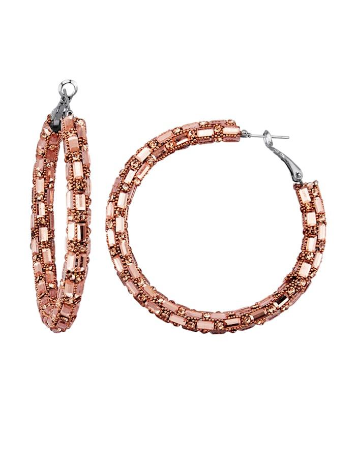 Hoop earrings with glass stones, Rosé
