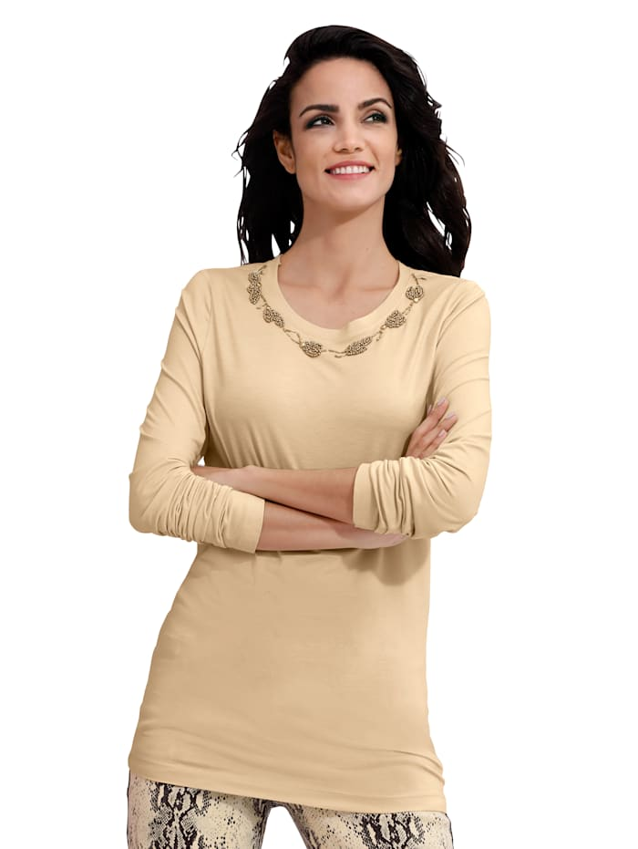 AMY VERMONT Shirt metkraaltjesversiering, Beige