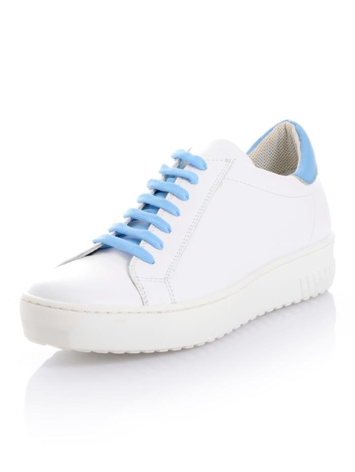 CINQUE Sneaker van kalfsleer, Wit/Lichtblauw