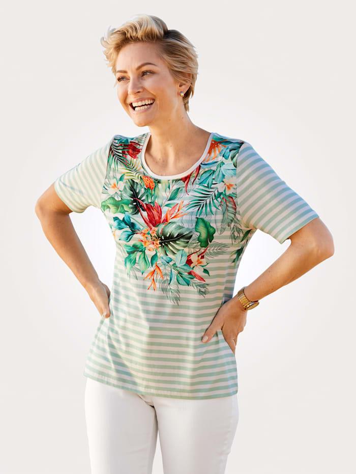 MONA T-shirt à imprimé exotique, Menthe/Écru/Corail