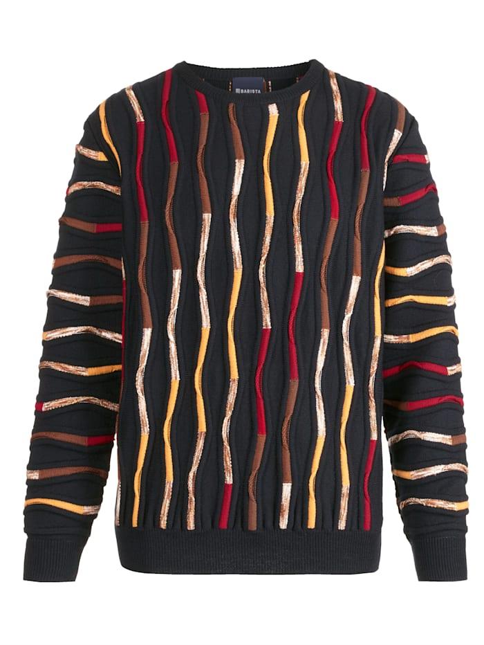 BABISTA Pullover mit hochwertiger 3D Relief-Struktur, Marineblau/Rot