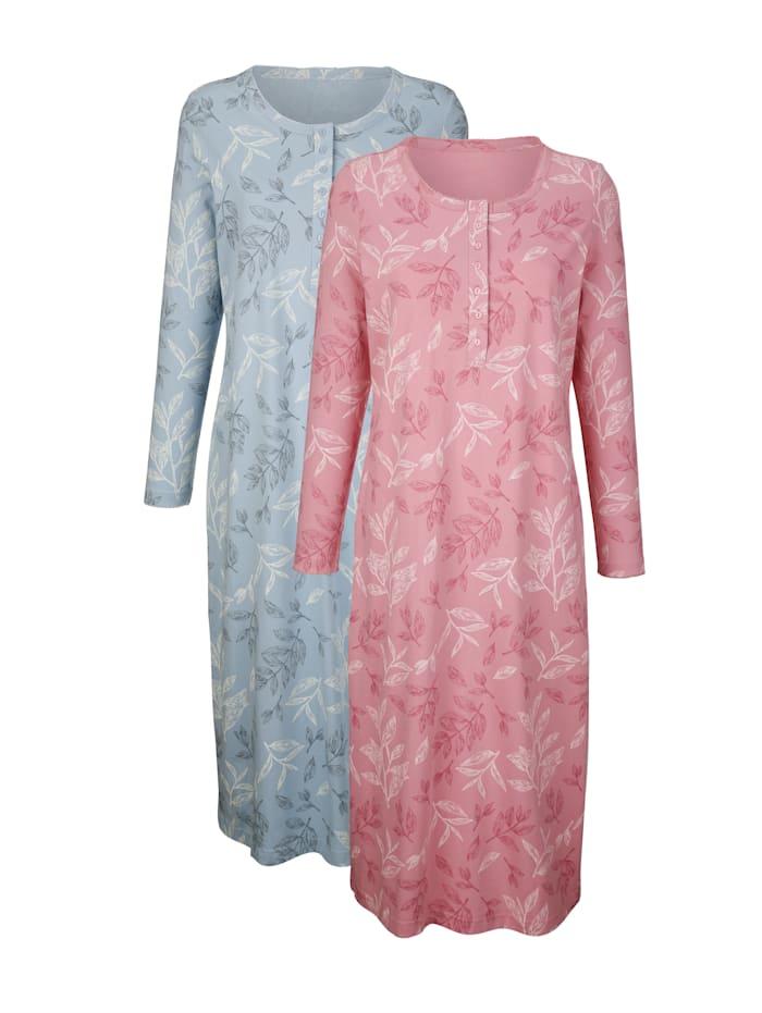 Harmony Nachthemden im 2er-Pack mit floralem Druck und Knopfleiste, Altrosa/Hellblau
