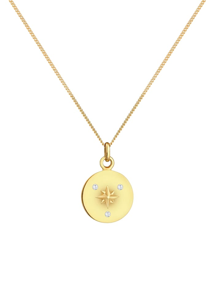 Halskette Plättchen Coin Stern Zirkonia 925 Silber