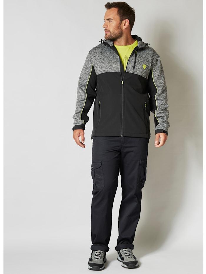 Men Plus Softshelljacke Wind und Wasserabweisend, Schwarz/Grau/Neongrün