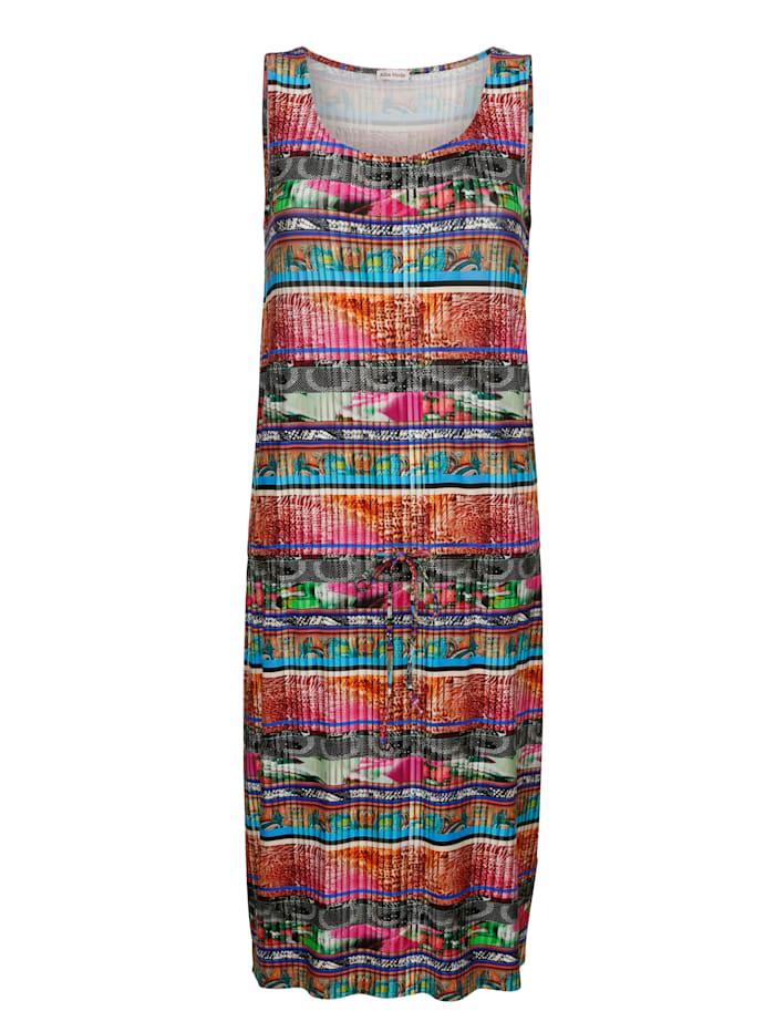 Alba Moda Strandkleid in Plisseoptik, Pink-Bunt