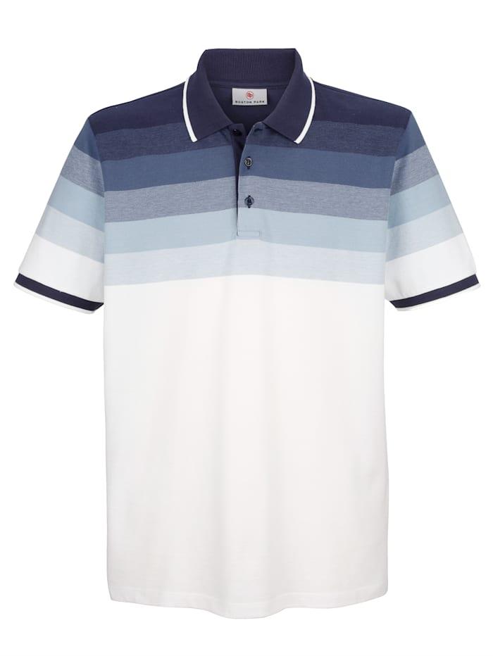 Boston Park Poloshirt met ingebreid streeppatroon, Blauw/Wit