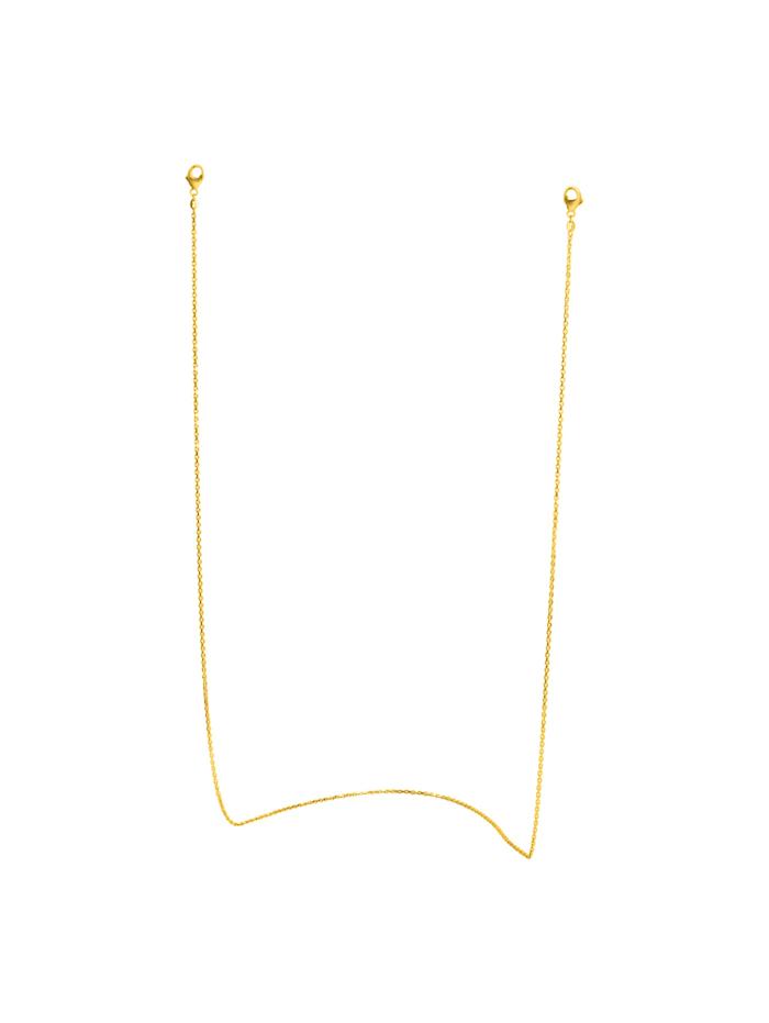 ZEEme Brillenkette Maskenkette 925/- Sterling Silber 50cm Diamantiert, gelb
