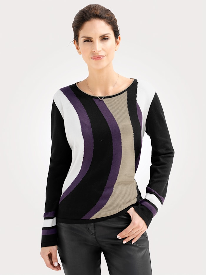 Jumper with graphic intarsia pattern