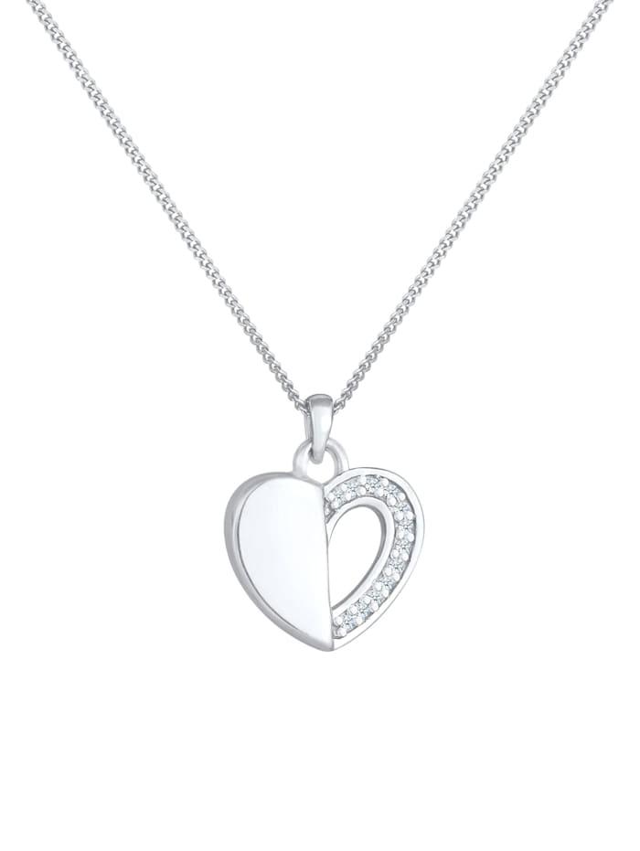 Halskette Herz Ewigkeit Diamant (0.06 Ct.) 925 Silber