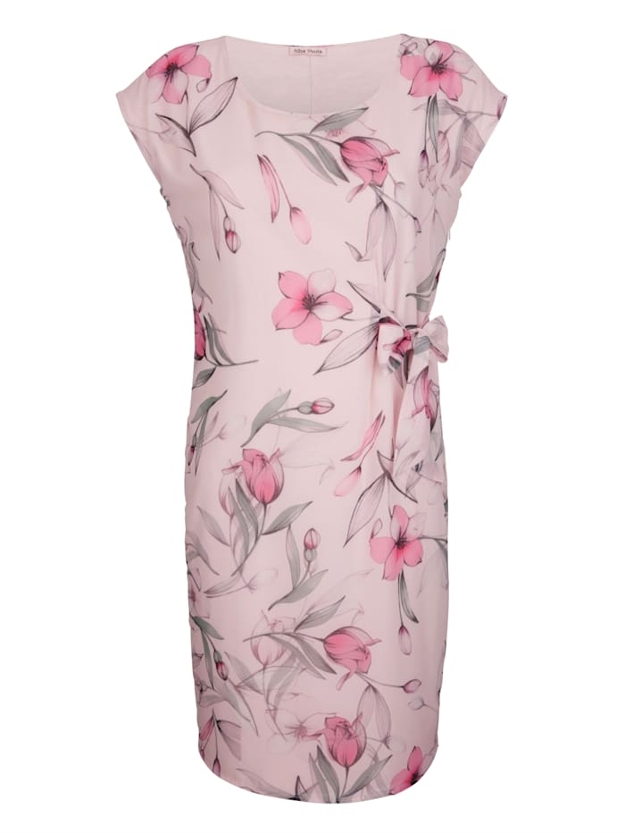Alba Moda Kleid im floralem Dessin, Rosé/Grün