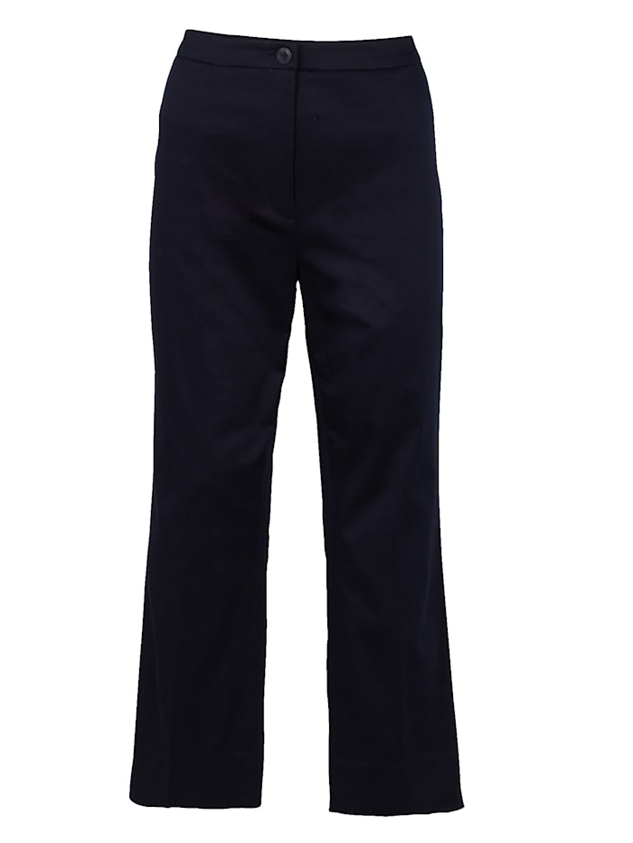 Artigiano Cropped trousers in stretch cotton sateen, Navy