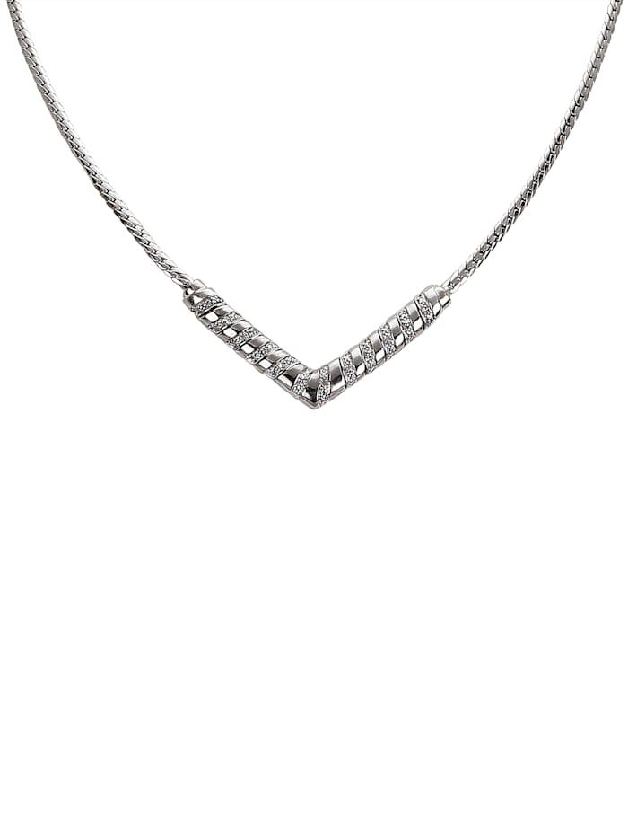 Collier mit Diamant, Silberfarben