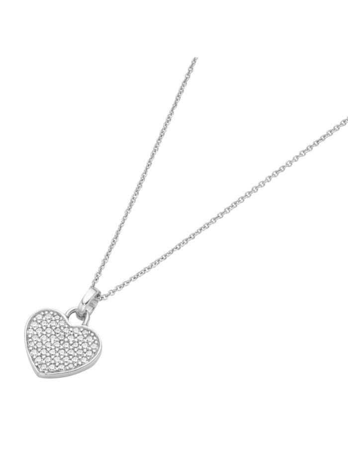Smart Jewel Kette Herz mit Zirkonia, Silber 925, Weiss