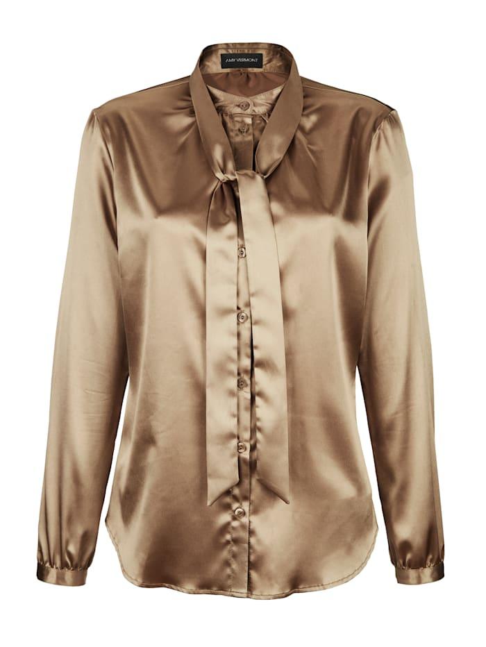 AMY VERMONT Bluse mit abnehmbarer Schluppe, Goldfarben