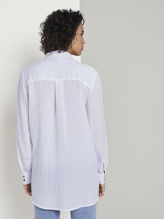 Strukturierte Bluse mit Hemd-Kragen