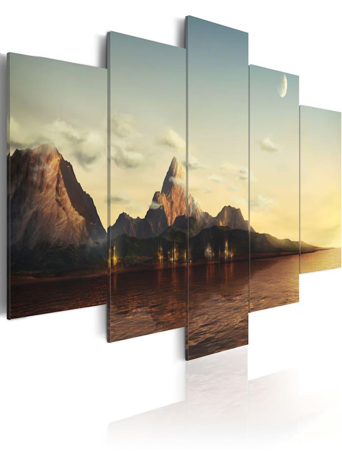 artgeist Wandbild Sonnenaufgang in den Bergen, Himmelblau,Beige,Braun