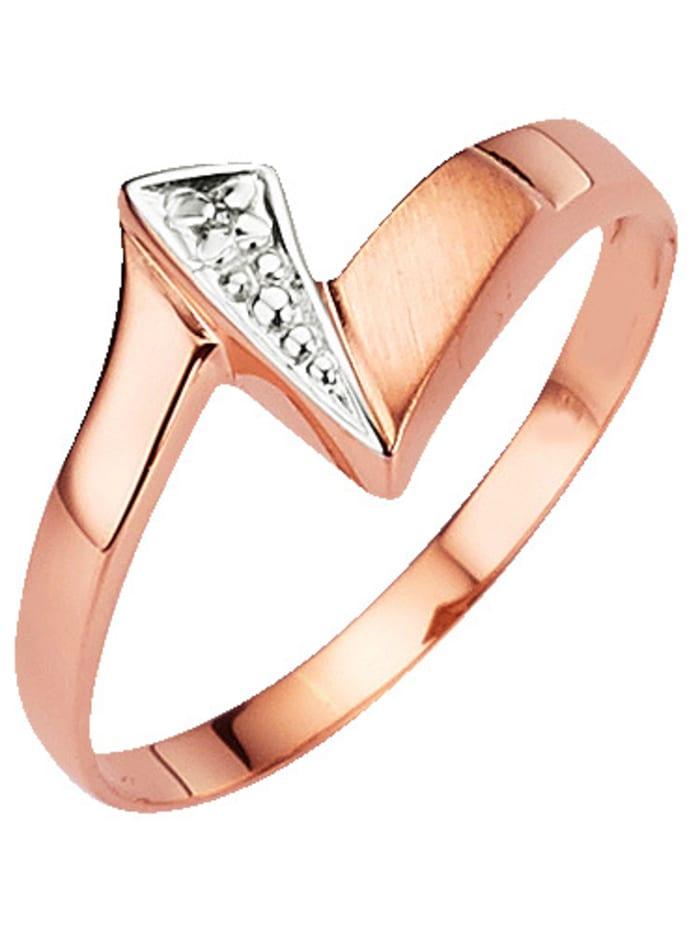 Damenring mit Diamant, Rosé