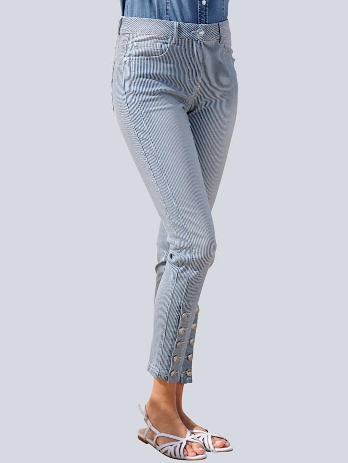 Alba Moda Jean à motif rayé devant et dos, Blanc cassé/Blue bleached