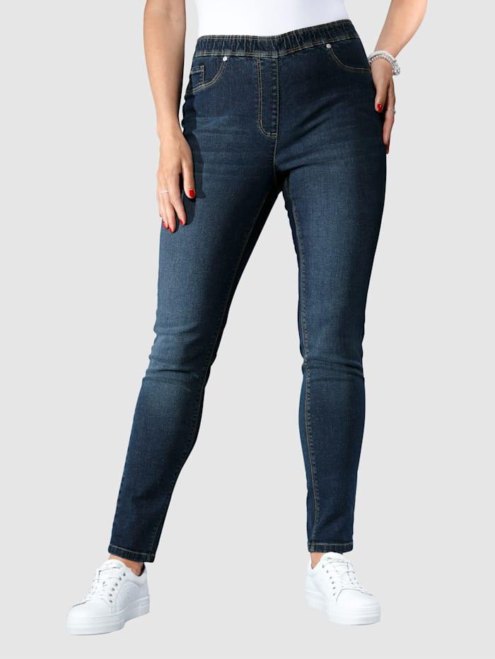 MIAMODA Jeansleggings med push up-sömmar, Dark blue