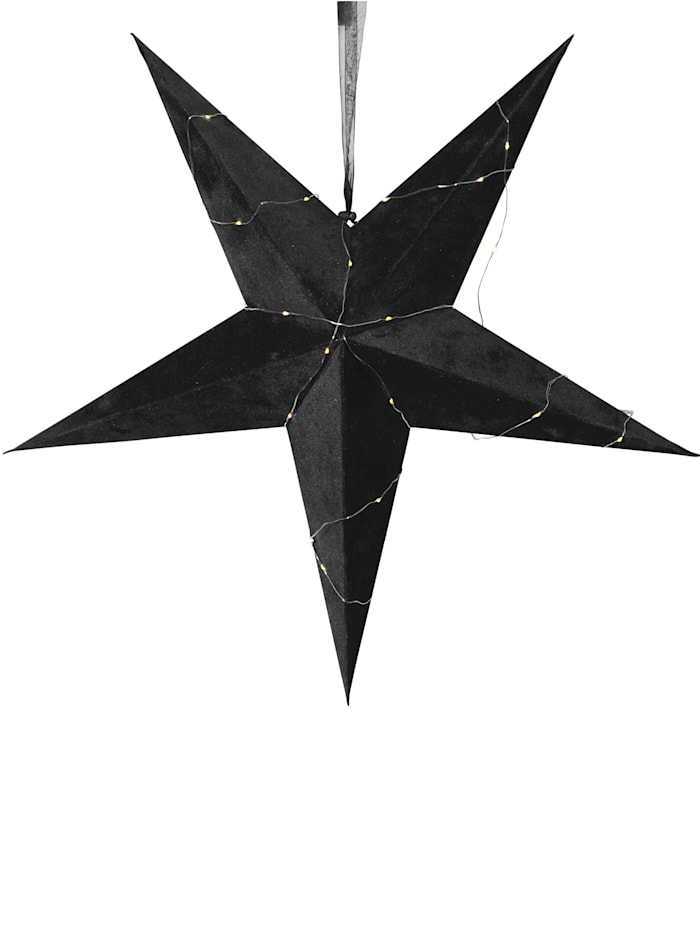 Star LED-Hänge-Papierstern, schwarz