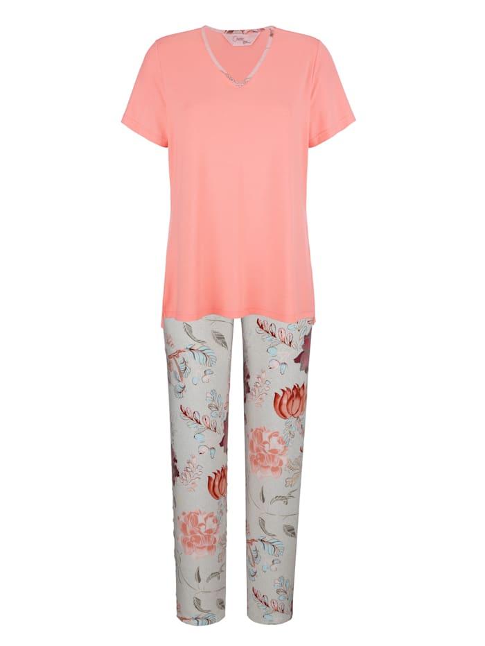 MONA Pyjama met elegante bies aan de V-hals, Apricot/Lichtblauw/Grijs