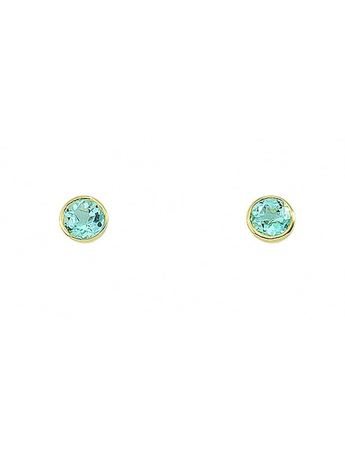 1001 Diamonds Damen Goldschmuck 585 Gold Ohrringe / Ohrstecker mit Aquamarin Ø 7,2 mm, blau