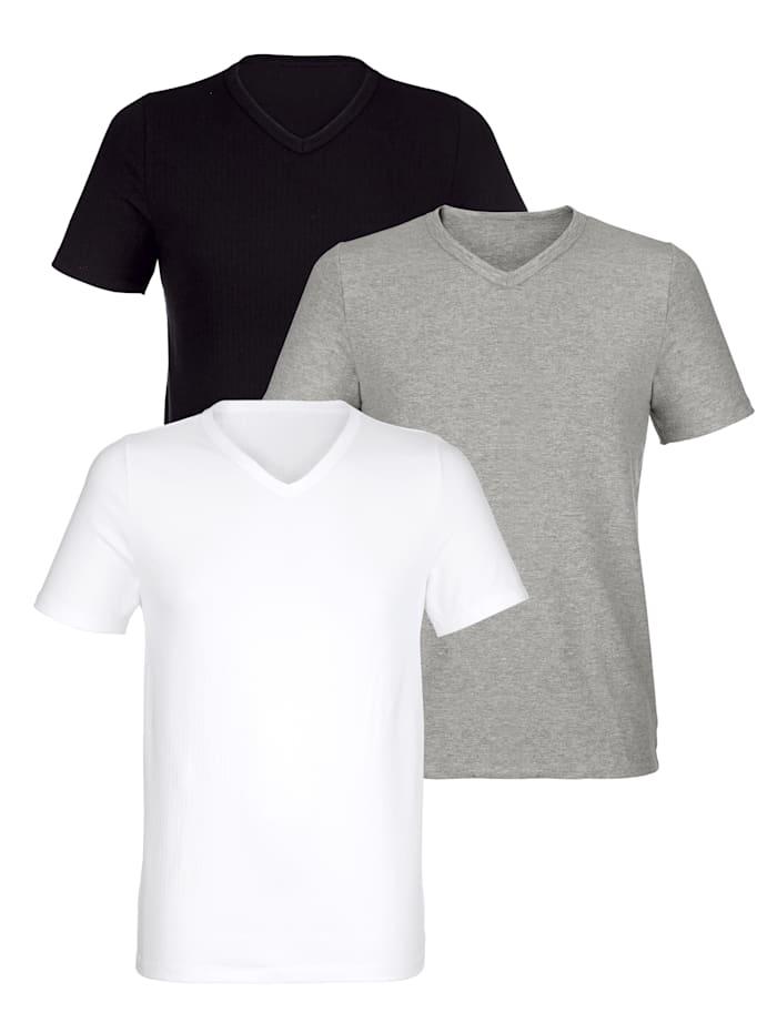 BABISTA T-shirts à fines rayures, Blanc/Noir/Gris