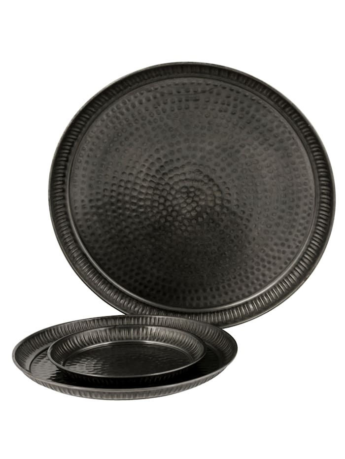 IMPRESSIONEN living Tablett-Set, 3-tlg., Black Laquer