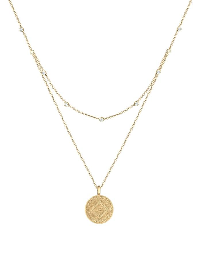 Halskette Münze Plättchen Kristalle 925 Silber