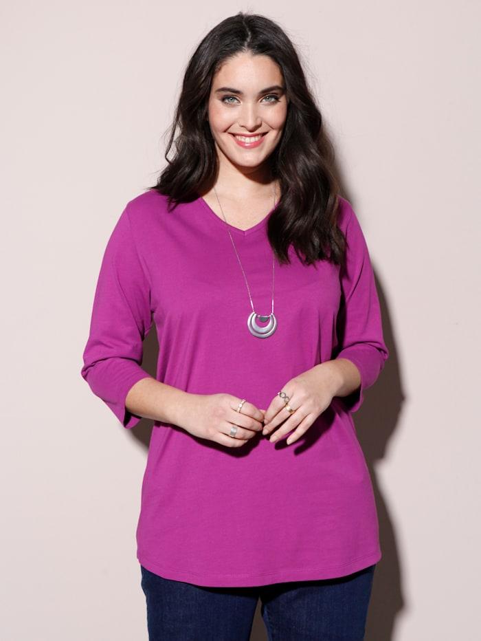 MIAMODA Shirt met flatterende V-hals, Cyclaam