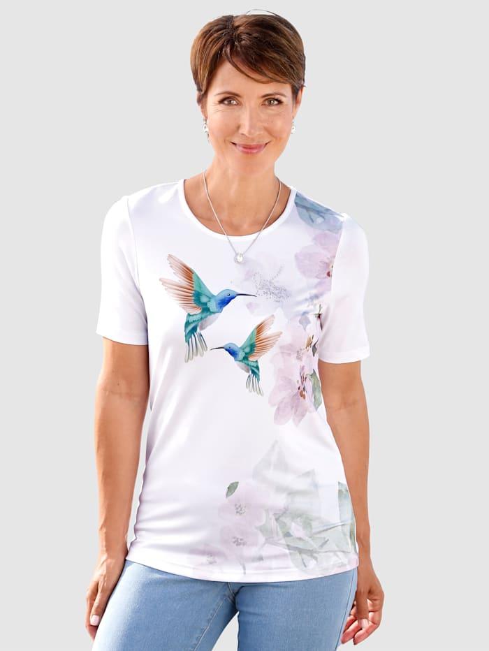 Paola Shirt mit plaziertem Druck vorne, Weiß