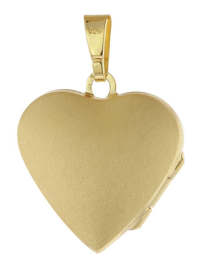 Medaillon Herz mit Kette Gold plattiertes 925 Silber