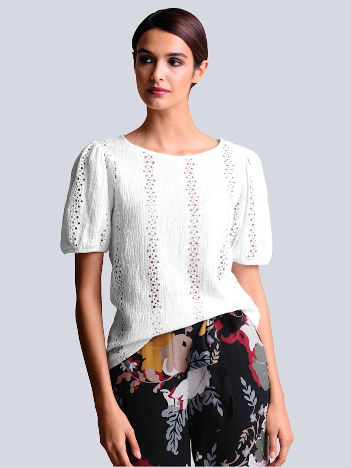 Alba Moda Shirt mit Lochstickerei, Off-white
