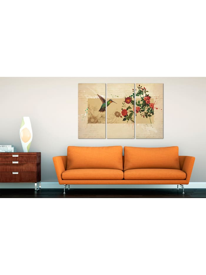 Wandbild Kolibri und Rosen