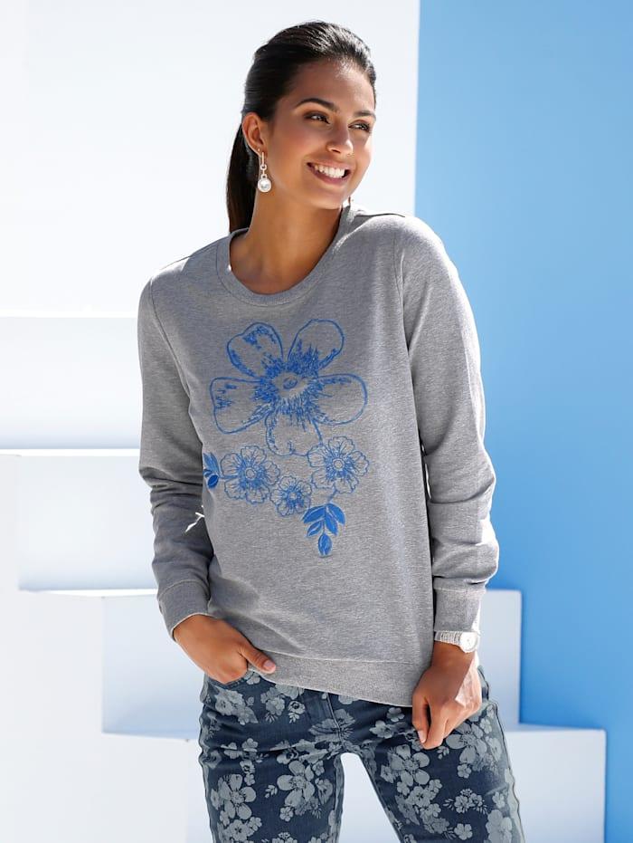 Sweatshirt mit Stickerei und Perlendekoration