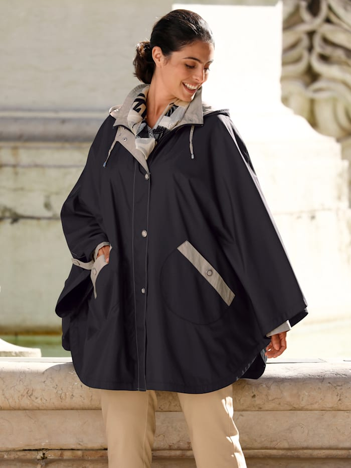 m. collection Jacke in Poncho Form, Schwarz/Taupe