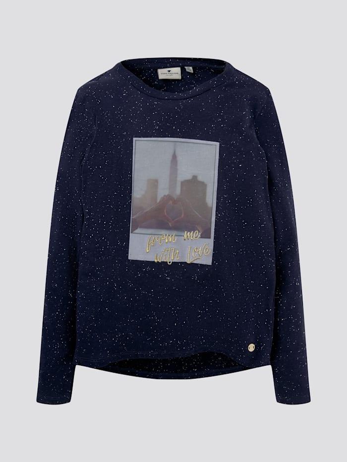 Tom Tailor Meliertes Shirt mit Fotoprint, dress blue|blue
