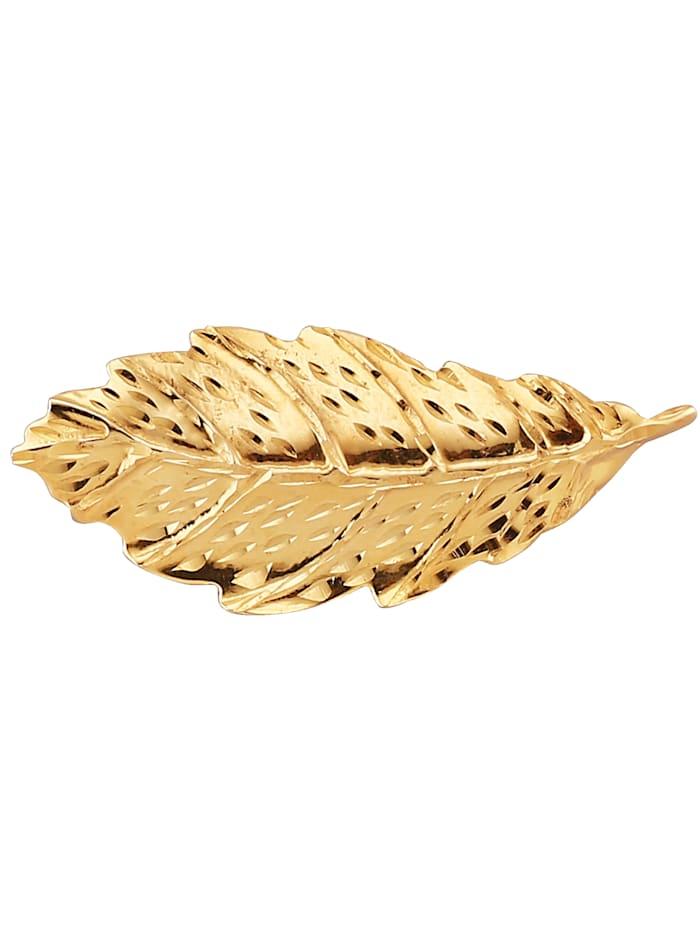 Blatt-Brosche in Gelbgold 375