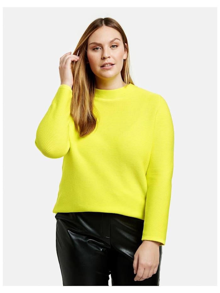 Samoon Baumwoll-Pullover aus Rippstrick, Blazing Yellow