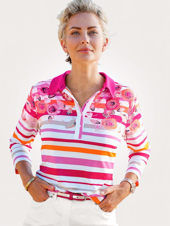 MONA Poloshirt mit Ringeldessin, Weiß/Pink/Orange