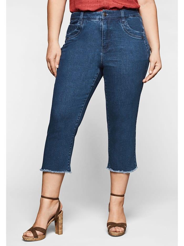 Sheego Jeans mit Fransen am Saum, blue Denim