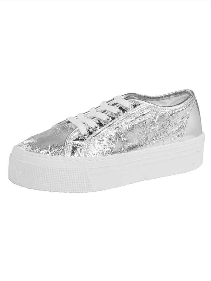 Sneakers à plateau en perlato structuré, Coloris argent