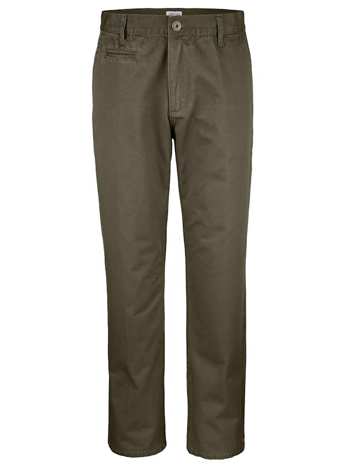 Roger Kent Flatfronthose in Baumwoll-Qualität, Oliv
