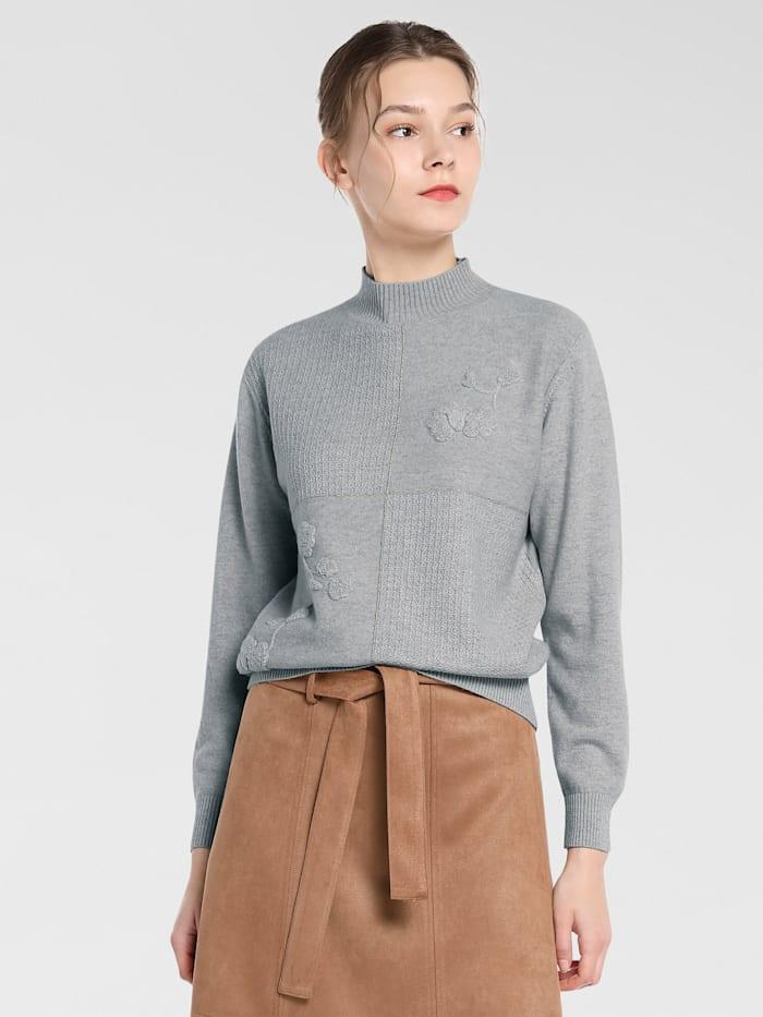 APART Pullover mit anliegendem Stehkragen, hellgrau