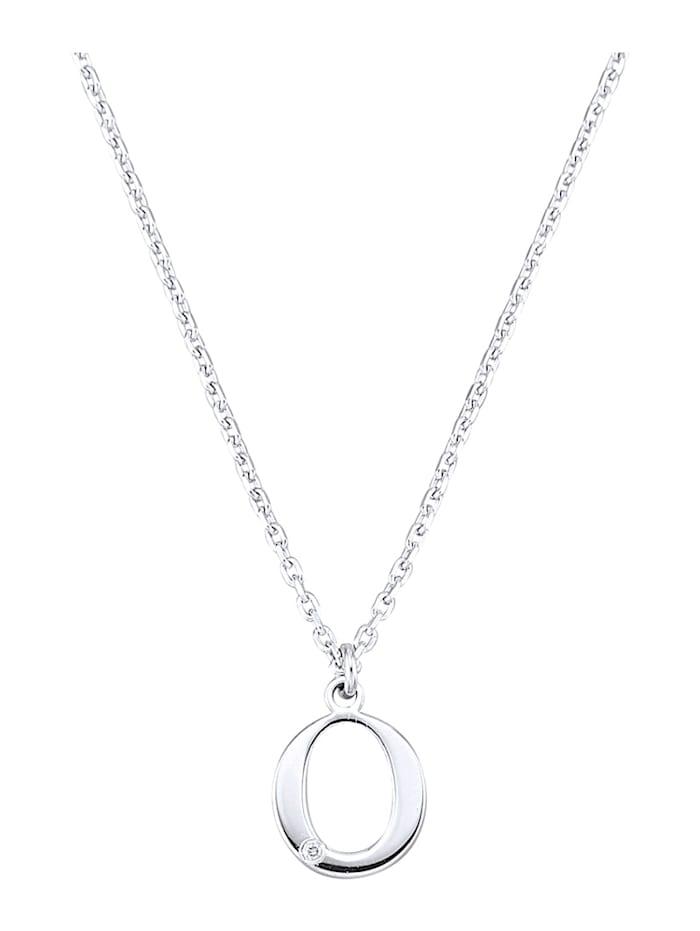 Collier Letter O met diamant, Zilverkleur