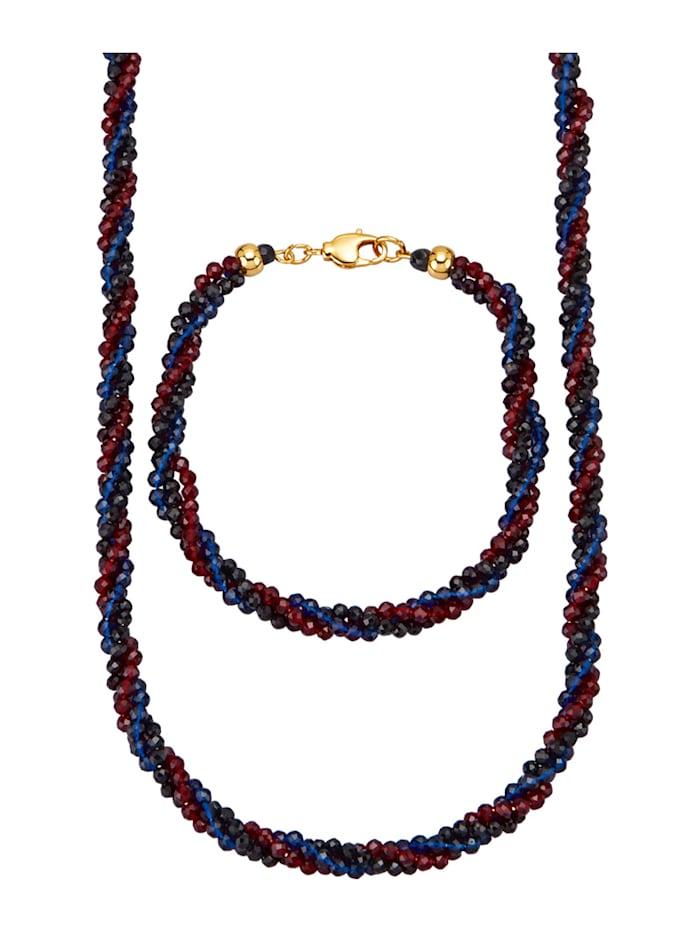 2tlg. Schmuck-Set mit Spinell, Multicolor