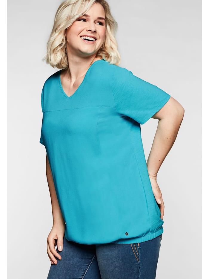 Sheego Sheego T-Shirt im Materialmix, mit Gummizugsaum, eistürkis